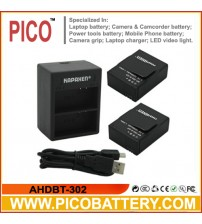 Two New AHDBT-302 Rechargeable Batteries Plus One Dual USB Charger Kit for Gopro HD Hero3 and Hero3+ Digital Cameras BY PICO