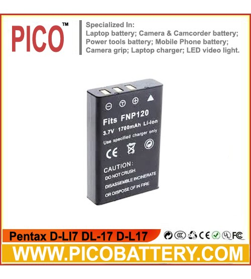 Pentax D-LI7 DL-17 D-L17 Li-Ion Rechargeable Digital Camera Battery BY PICO