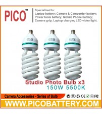 NEW PHOTOGRAPHIC EQUIPMENT 5500K bulb for Energy Saving two lamp holder 150w 3pcs BY PICO