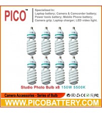 NEW PHOTOGRAPHIC EQUIPMENT 5500K bulb for Energy Saving two lamp holder 150w 8pcs BY PICO